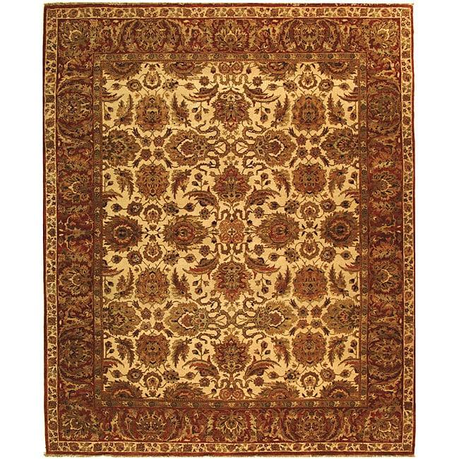 Heirloom Hand-knotted Hand-spun Wool Ivory/ Rust Rug (5' x 7'6)