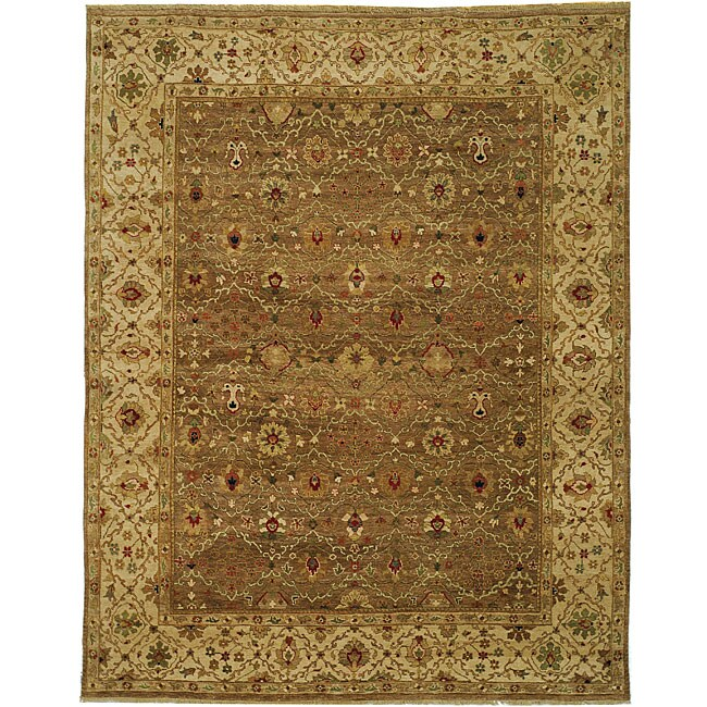Heirloom Treasures Hand-knotted Beige Wool Rug (9' x 12')