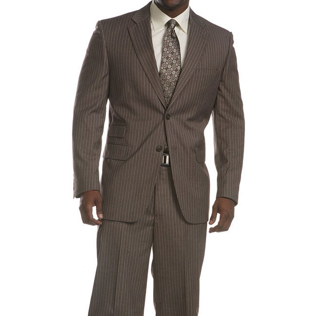 Ferrecci Men's 2-piece Pinstriped Grey 3-pocket Suit
