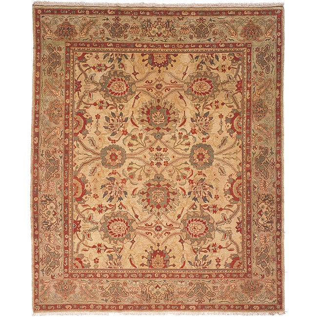 Oushak Hand-knotted Sarouk Beige/ Green Wool Rug (9' x 12')