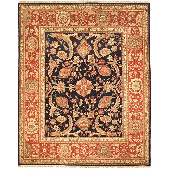 Oushak Legacy Hand-knotted Navy/ Rust Wool Rug (8' x 10')