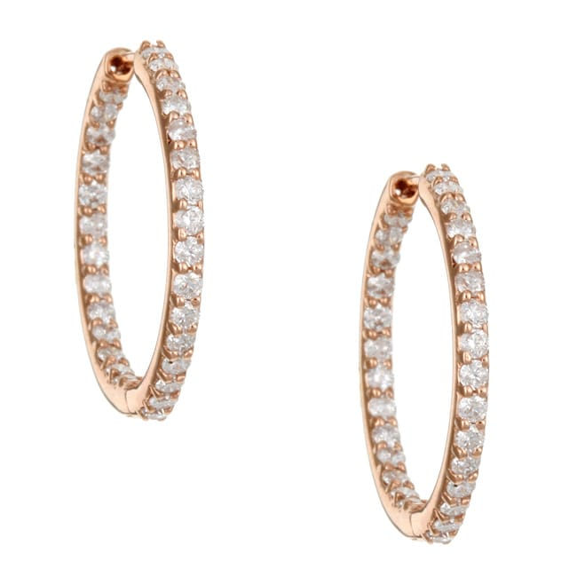 15675abb9 Thumbnail Kabella 14k Rose Gold 1ct TDW Diamond Inside-out Hoop Earrings  (H-I, ...