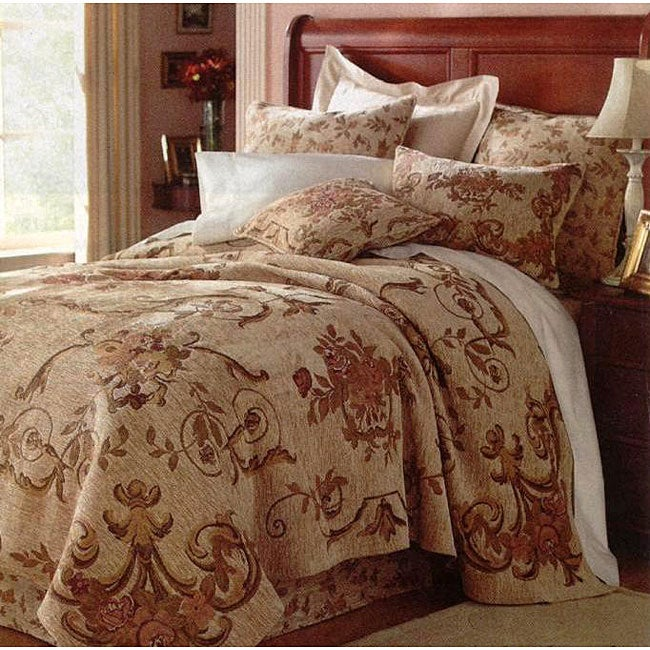Anastasia Queen Size Tapestry Coverlet Set With Bed Skirt