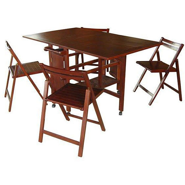 Vifah Eucalyptus Hideaway Table And Chairs Set Free Shipping Today 4348684
