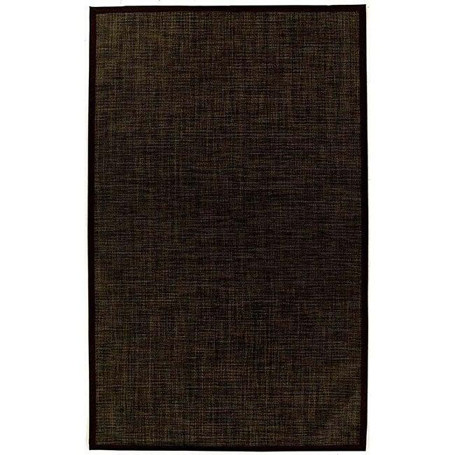 PVC Outdoor Black/ Brown Rug - 5' x 8'