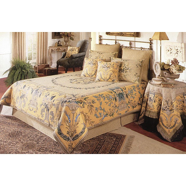 Savonnerie II Gold King Size Tapestry Coverlet Set