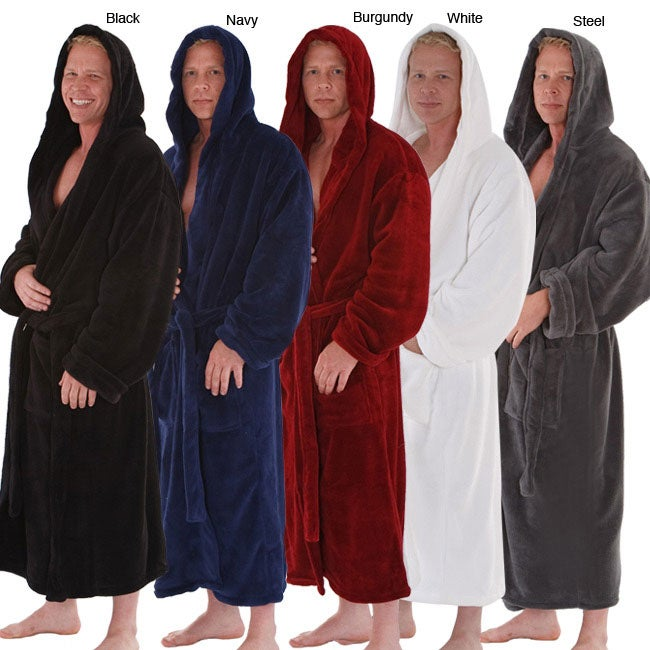Alexander Del Rossa Men's Fleece Hooded Bathrobe