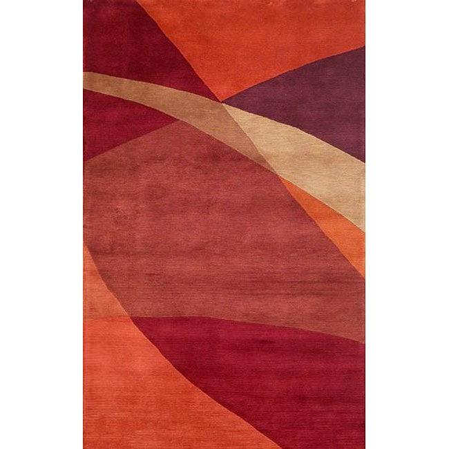 Geo Metro Red and Orange Wool Rug (5' x 8')