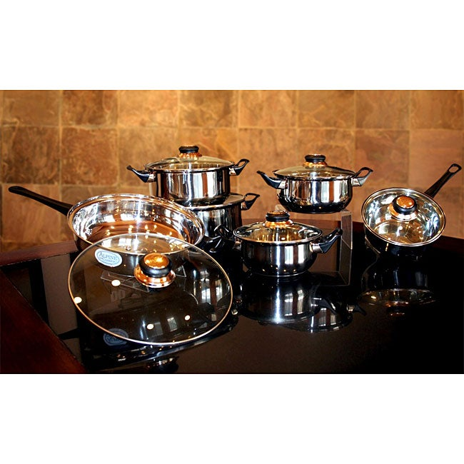 Stainless Steel 12-piece Capsule Sandwich Bottom Cookware Set