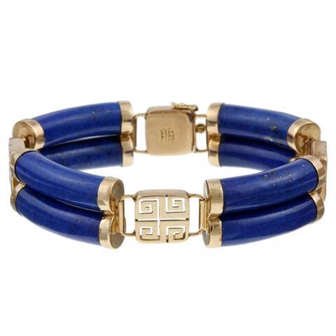 Kabella 14k Yellow Gold Double-row Lapis Bracelet