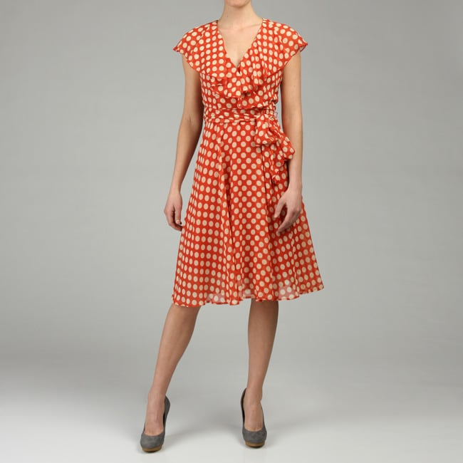 Connected Apparel Women's Polka Dot Chiffon Dress