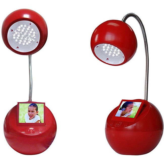 Sungale Red LED Desk Lamp with 3.5-inch Digital Picture Frame