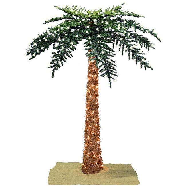 Faux Tropical Royal 8 Foot Pre Lit Palm Tree Free