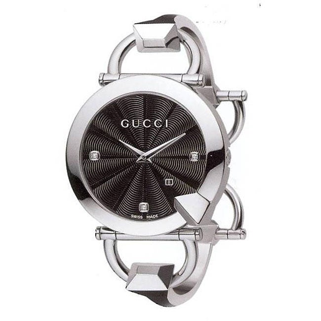 57f6a154d62 Shop Gucci 122 Chiodo Women s Black Face Diamond Watch - Free Shipping  Today - Overstock.com - 4364134