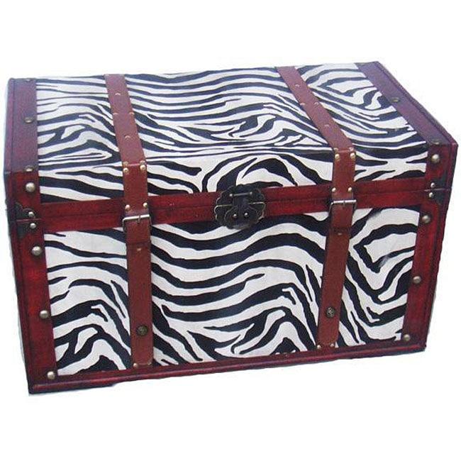 Phat Tommy Zebra Decorative Wooden Storage Trunk
