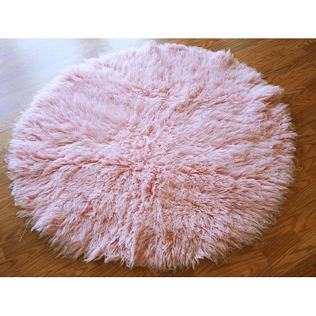 NuLOOM Alexa Standard Pink Flokati New Zealand Wool Shag
