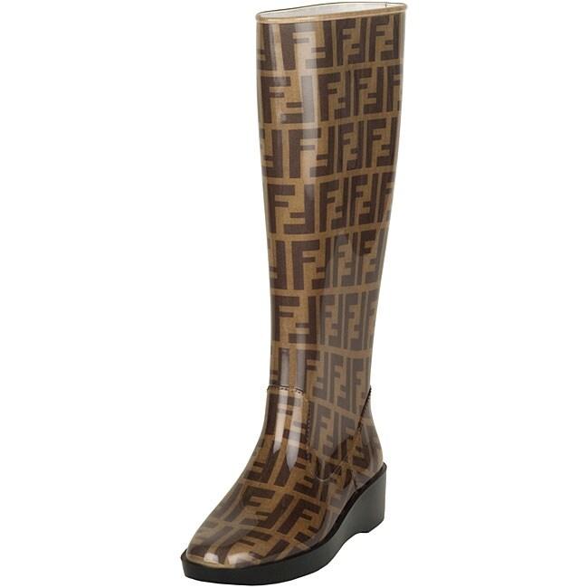 Fendi Women S Brown Zucca Rubber Rain Boots Free