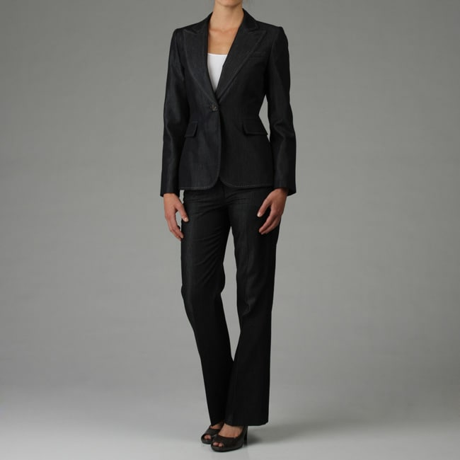 Tahari ASL Women's Dark Denim Pant Suit