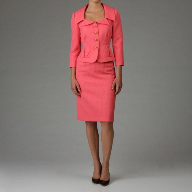 Tahari ASL Women's Coral Jacquard Skirt Suit