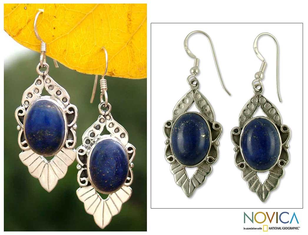 Lapis Lazuli 'Blue Lotus' Flower Earrings (India)