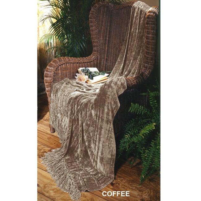 Illumina Chenille Coffee Throw Blanket