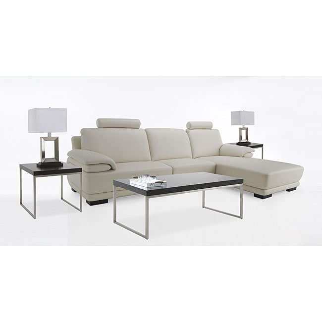 7 Piece Living Room Package Leather Sectional Sofa Coffee Table 2 End Tables And 2 Lamps