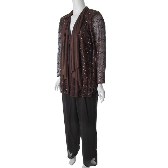 Le Bos Women's Plus Size 3-piece Shimmering Pant Set