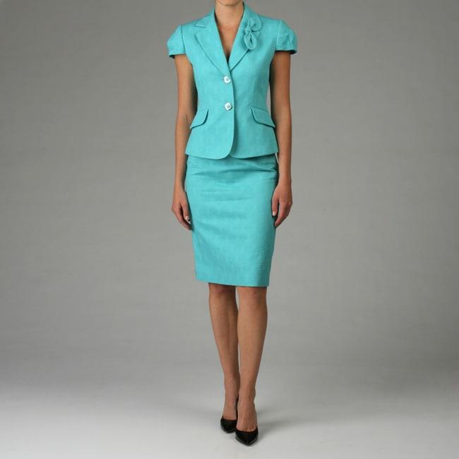 Tahari ASL Women's Turquoise Jacquard Skirt Suit
