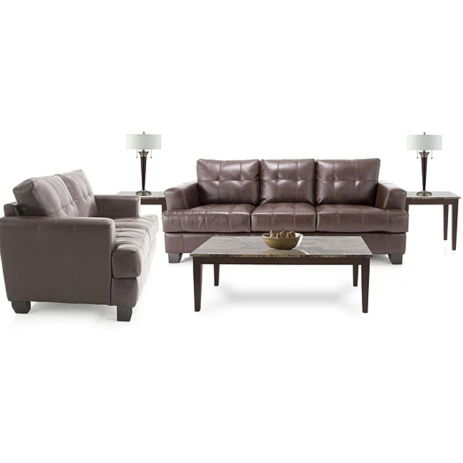 7 Piece Living Room Package: Leather Sofa And Leather Loveseat, 3 Tables  And 2
