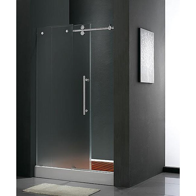 Shop Vigo Frameless 60x74 Inch Frosted Glass Sliding