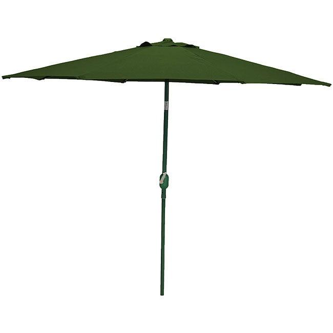 Crank and Tilt 9-inch Polyester Dark Green Market Umbrella