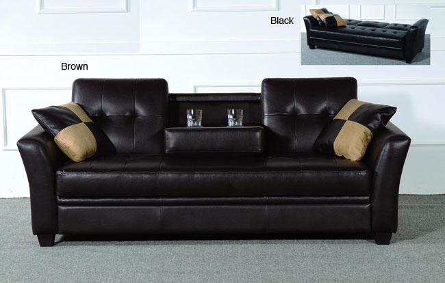 Furniture Of America Bi Cast Futon Sofa With Cup Holder
