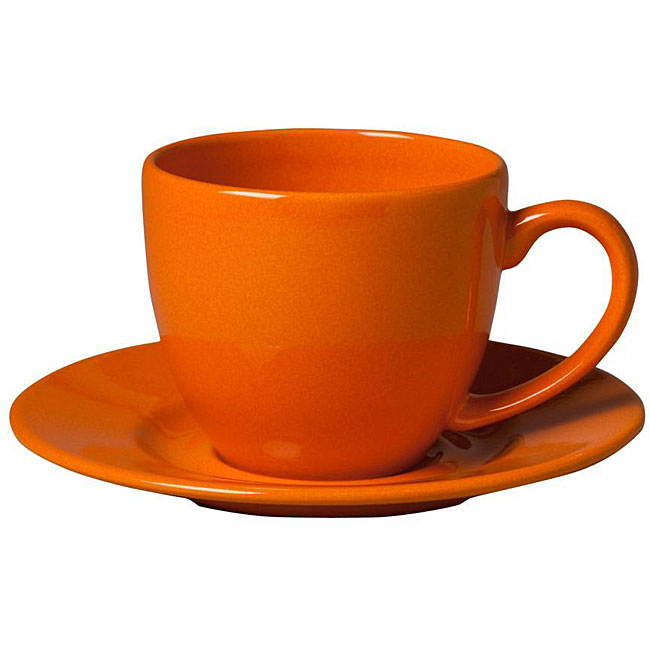 Waechtersbach Orange Peel Jumbo Cups with Saucers (Set of 2)