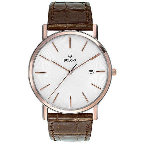 Bulova Men's Brown Leather Quartz Watch with White Dial