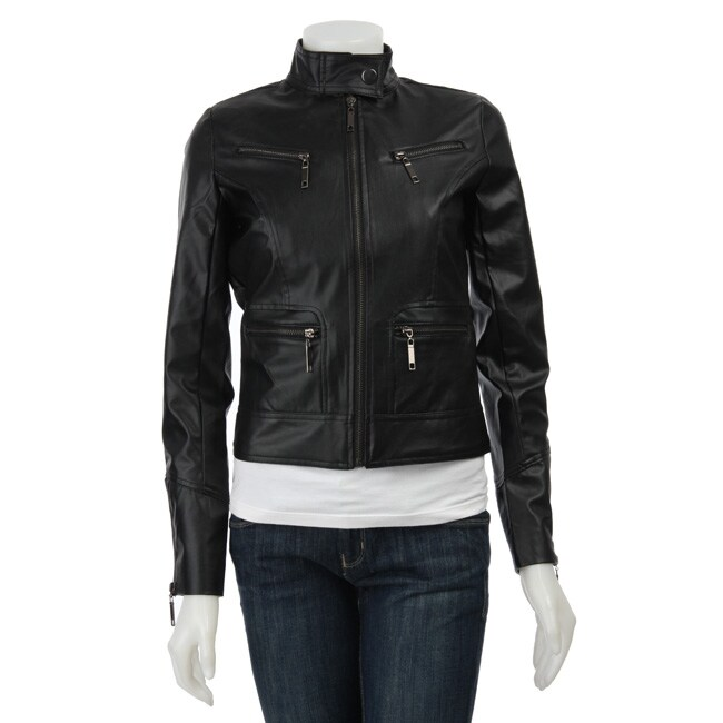 Ashley Women's Faux Leather Zip-up Jacket