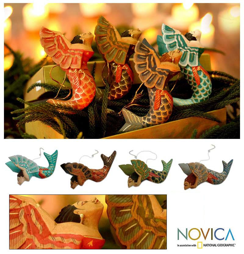 Set of 4 'Flying Mermaids' Wood Ornaments (Indonesia) - Thumbnail 0