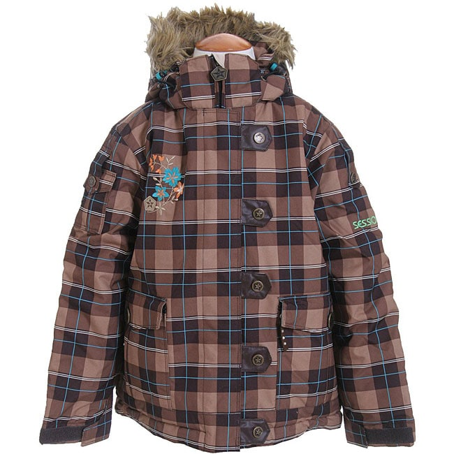 Sessions Bunny Kid's Brown Plaid Snowboard Jacket