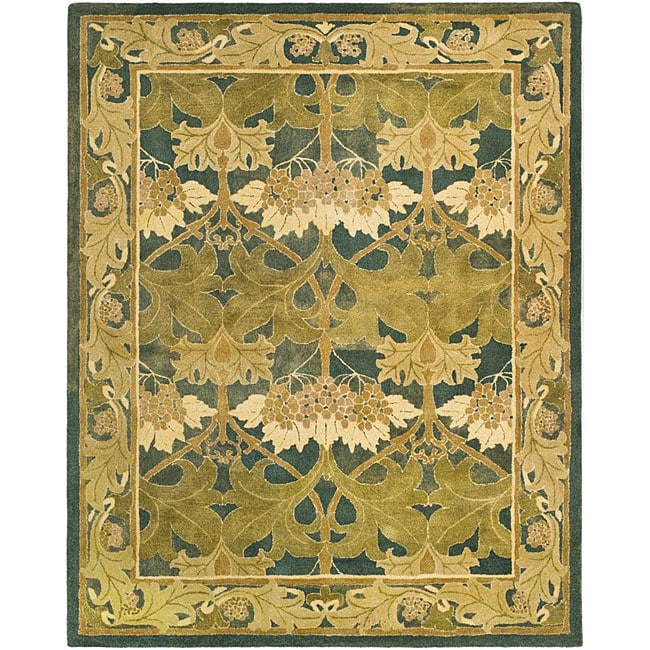 Safavieh Handmade Arts And Craft Dark Green Wool Rug 8 X27