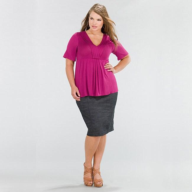 1ababf0998 Kiyonna Clothing Women's Plus Size Denim Curvy Pencil Skirt
