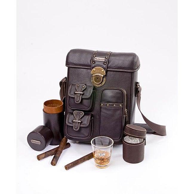 Max Benjamin Black Leather Mini Cigar Bar