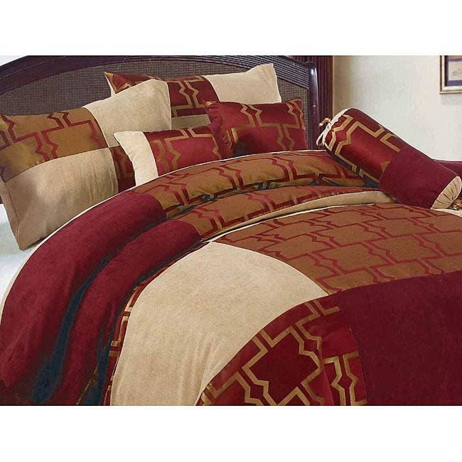 Roman 7-piece Microsuede Patchwork Comforter Set