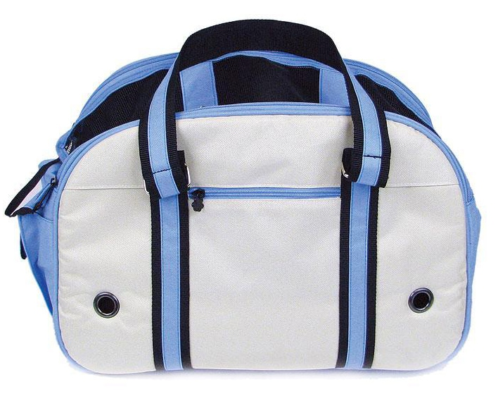 Soft-sided Nylon Blue and White Small Pet Carrier with Straps