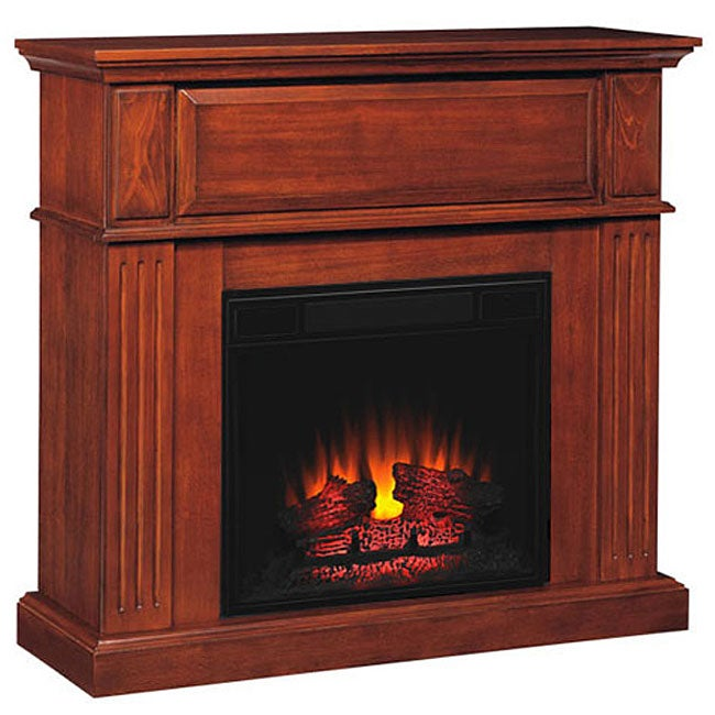 Cherry 23 Inch Electric Fireplace Mantel Package Free