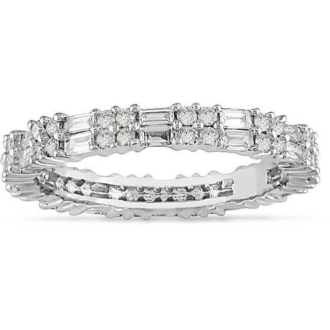 18k White Gold 1ct TDW Baguette and Round Diamond Anniversary Ring