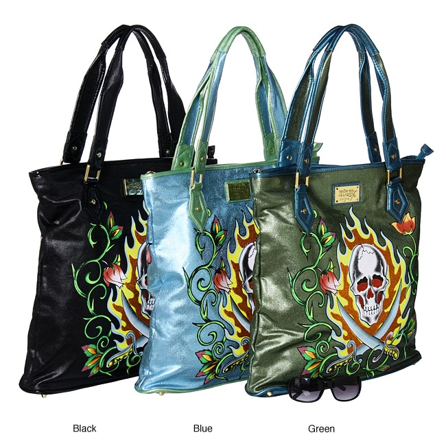 Shop Ed Hardy  Arielle  Skull and Bird Tote - Free Shipping Today -  Overstock.com - 4396294 2a522f0cb8434