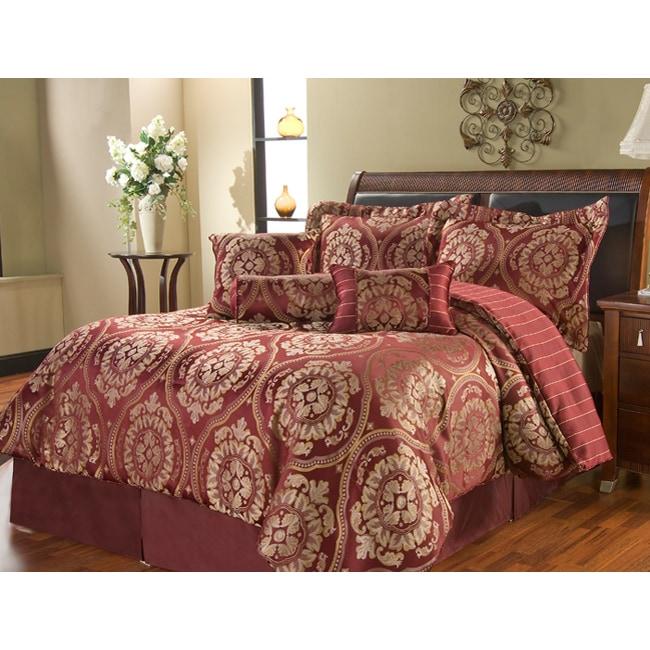 Venezia Burgundy 7-piece Comforter Set