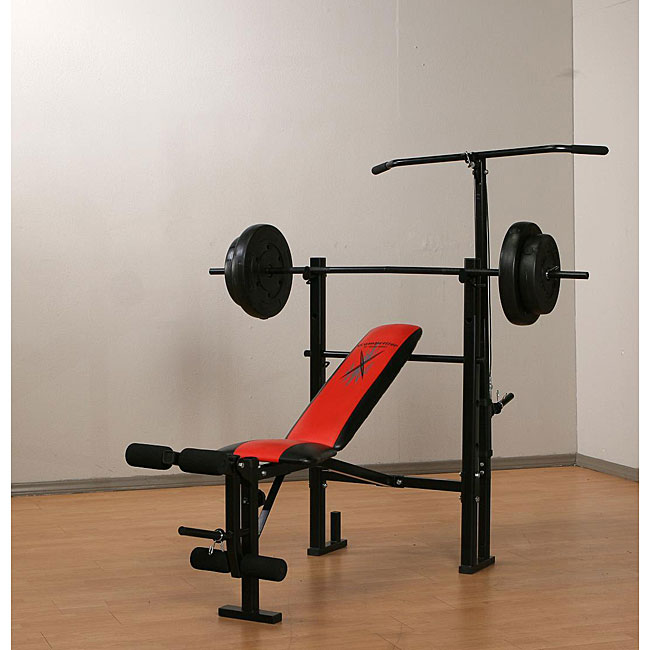 Marcy weight bench with 80 pound vinyl weight set free shipping today 12363610 Weight set and bench
