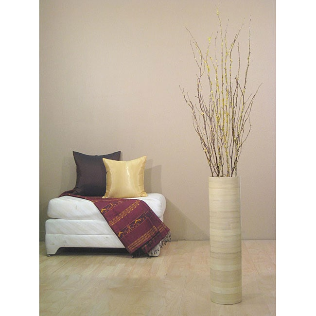 Yellow Forsythia with 27-inch Natural Bamboo Cylinder Floor Vase