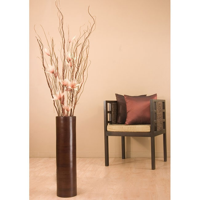 Flowers with 27 inch brown bamboo cylinder floor vase for Floor vase with flowers
