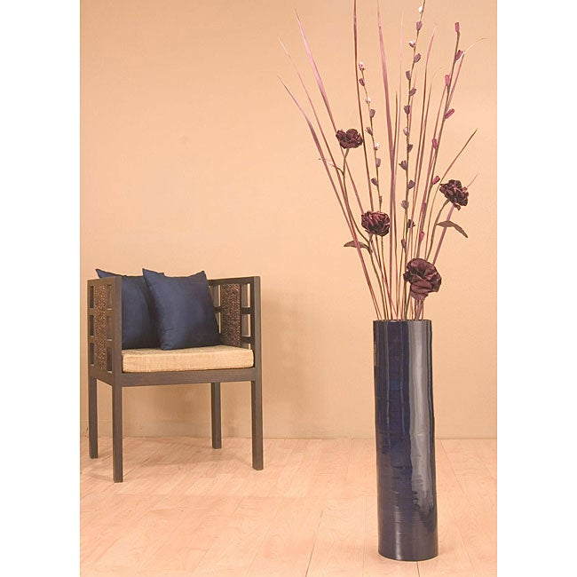 Plum Roses with 27-inch Blue Bamboo Cylinder Floor Vase